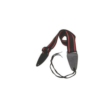 Guitar Strap with Leather Ends (Black with Red Strips) (OT-GSA10BKRD)
